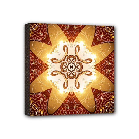 Elegant, Decorative Kaleidoskop In Gold And Red Mini Canvas 4  X 4  by FantasyWorld7