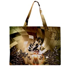 Clef With  And Floral Elements Zipper Tiny Tote Bags