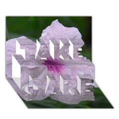 Pink Purple Flowers Take Care 3d Greeting Card (7x5)