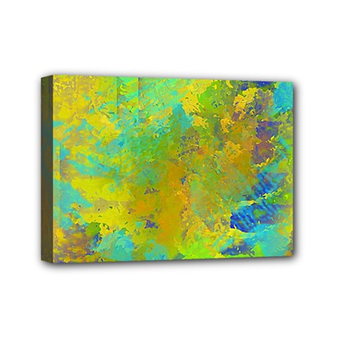 Abstract In Blue, Green, Copper, And Gold Mini Canvas 7  X 5  by theunrulyartist