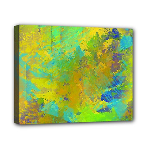 Abstract In Blue, Green, Copper, And Gold Canvas 10  X 8  by theunrulyartist