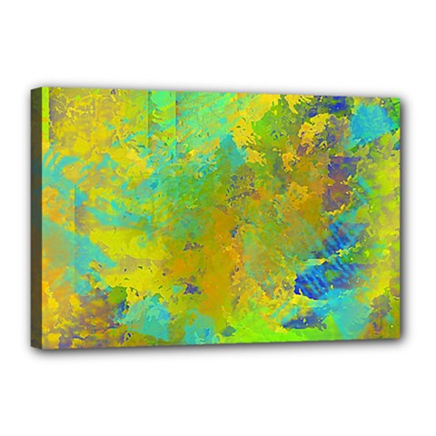 Abstract in Blue, Green, Copper, and Gold Canvas 18  x 12  by theunrulyartist
