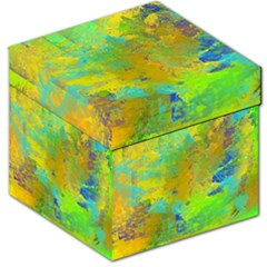 Abstract in Blue, Green, Copper, and Gold Storage Stool 12   by theunrulyartist