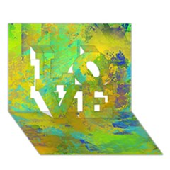 Abstract In Blue, Green, Copper, And Gold Love 3d Greeting Card (7x5)