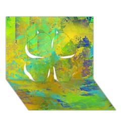 Abstract In Blue, Green, Copper, And Gold Clover 3d Greeting Card (7x5)  by digitaldivadesigns