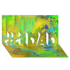 Abstract In Blue, Green, Copper, And Gold #1 Dad 3d Greeting Card (8x4)  by theunrulyartist