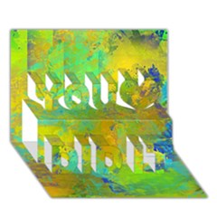 Abstract In Blue, Green, Copper, And Gold You Did It 3d Greeting Card (7x5) by theunrulyartist
