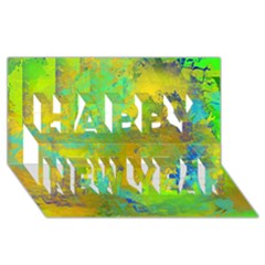 Abstract In Blue, Green, Copper, And Gold Happy New Year 3d Greeting Card (8x4)  by theunrulyartist