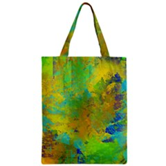 Abstract In Blue, Green, Copper, And Gold Zipper Classic Tote Bags by theunrulyartist