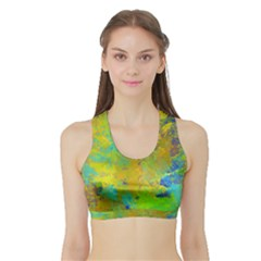 Abstract In Blue, Green, Copper, And Gold Women s Sports Bra With Border by theunrulyartist