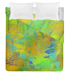 Abstract In Blue, Green, Copper, And Gold Duvet Cover (full/queen Size) by theunrulyartist