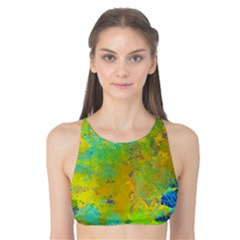 Abstract In Blue, Green, Copper, And Gold Tank Bikini Top by theunrulyartist
