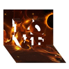 Fire And Flames In The Universe Love 3d Greeting Card (7x5)  by FantasyWorld7