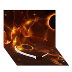 Fire And Flames In The Universe Heart Bottom 3d Greeting Card (7x5)  by FantasyWorld7