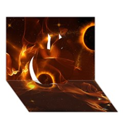 Fire And Flames In The Universe Apple 3d Greeting Card (7x5)  by FantasyWorld7