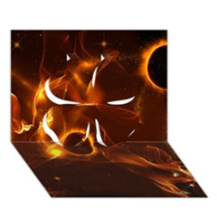 Fire And Flames In The Universe Clover 3d Greeting Card (7x5)  by FantasyWorld7