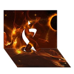 Fire And Flames In The Universe Ribbon 3d Greeting Card (7x5)  by FantasyWorld7