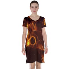 Fire And Flames In The Universe Short Sleeve Nightdresses by FantasyWorld7