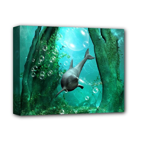 Wonderful Dolphin Deluxe Canvas 14  X 11  by FantasyWorld7