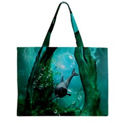 Wonderful Dolphin Zipper Tiny Tote Bags by FantasyWorld7