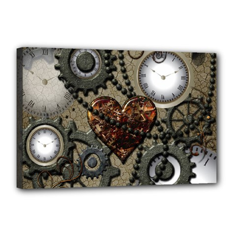 Steampunk With Heart Canvas 18  x 12  by FantasyWorld7