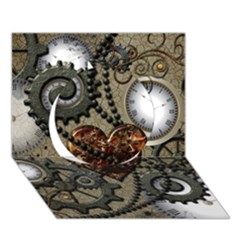 Steampunk With Heart Circle 3d Greeting Card (7x5)  by FantasyWorld7