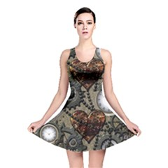 Steampunk With Heart Reversible Skater Dresses by FantasyWorld7