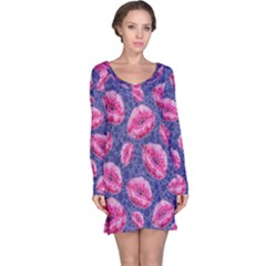 Sassy Lips Pink Blue  Long Sleeve Nightdresses