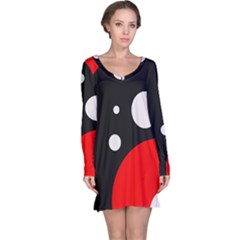Huge Black Red White Polka Dot  Long Sleeve Nightdresses by OCDesignss