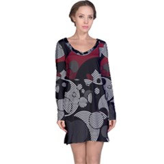 Trippy Black&white Red Abstract  Long Sleeve Nightdresses by OCDesignss