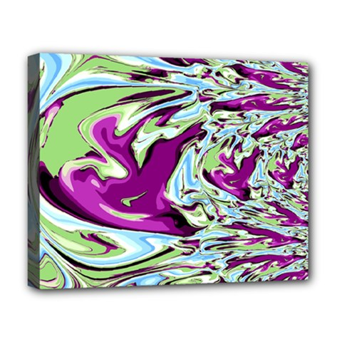 Purple, Green, And Blue Abstract Deluxe Canvas 20  X 16   by theunrulyartist