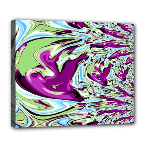 Purple, Green, and Blue Abstract Deluxe Canvas 24  x 20   by theunrulyartist