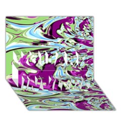 Purple, Green, And Blue Abstract You Are Invited 3d Greeting Card (7x5)  by digitaldivadesigns