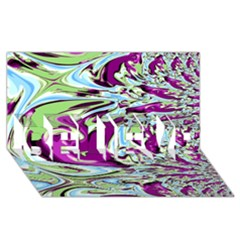 Purple, Green, And Blue Abstract Believe 3d Greeting Card (8x4)  by theunrulyartist