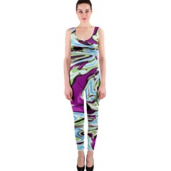 Purple, Green, And Blue Abstract Onepiece Catsuits by theunrulyartist