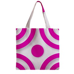 Florescent Pink White Abstract  Zipper Grocery Tote Bags