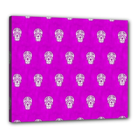 Skull Pattern Hot Pink Canvas 24  X 20  by MoreColorsinLife