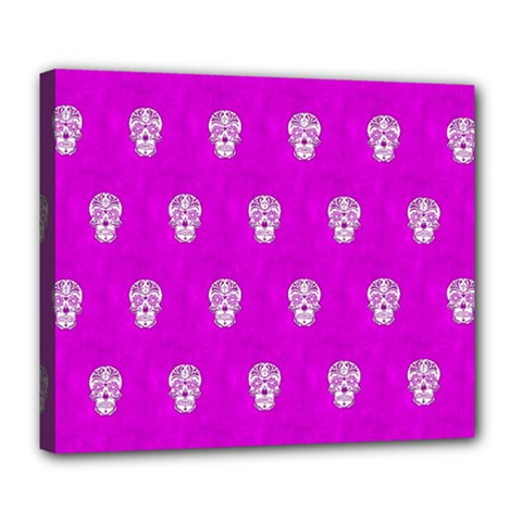 Skull Pattern Hot Pink Deluxe Canvas 24  X 20   by MoreColorsinLife