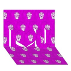 Skull Pattern Hot Pink I Love You 3d Greeting Card (7x5)  by MoreColorsinLife