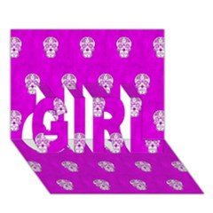 Skull Pattern Hot Pink Girl 3d Greeting Card (7x5)