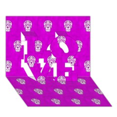 Skull Pattern Hot Pink Love 3d Greeting Card (7x5)