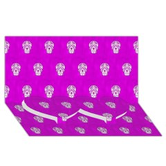 Skull Pattern Hot Pink Twin Heart Bottom 3d Greeting Card (8x4)  by MoreColorsinLife