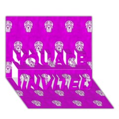 Skull Pattern Hot Pink You Are Invited 3d Greeting Card (7x5)
