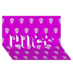 Skull Pattern Hot Pink Hugs 3d Greeting Card (8x4)  by MoreColorsinLife