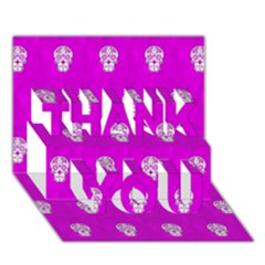 Skull Pattern Hot Pink Thank You 3d Greeting Card (7x5)