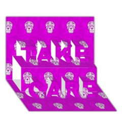 Skull Pattern Hot Pink Take Care 3d Greeting Card (7x5)  by MoreColorsinLife