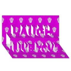 Skull Pattern Hot Pink Laugh Live Love 3d Greeting Card (8x4)  by MoreColorsinLife