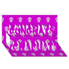 Skull Pattern Hot Pink Congrats Graduate 3d Greeting Card (8x4)  by MoreColorsinLife