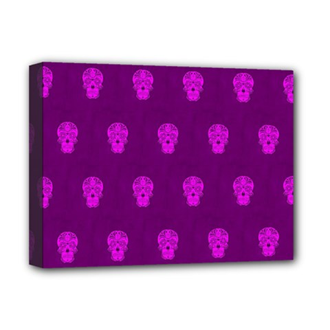 Skull Pattern Purple Deluxe Canvas 16  X 12   by MoreColorsinLife
