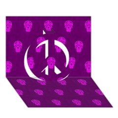 Skull Pattern Purple Peace Sign 3d Greeting Card (7x5)  by MoreColorsinLife